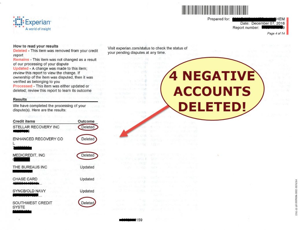 credit report showing 4 negative accounts deleted